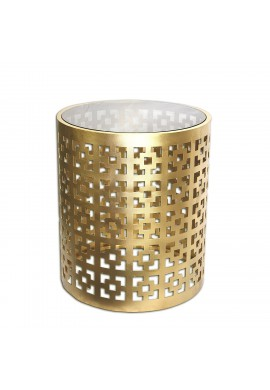 "Seketa Regent End Table, 19"" Gilded Brass Glass Top Round Side Table by DecorShore"