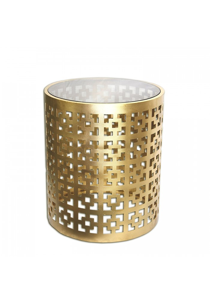 Buy Alhambra Regent Brass Glass Top Round Side Table DecorShore - Round brass glass side table