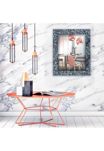 Glass Mosaic Framed Decorative Wall Mirror (Sharkskin Silver)