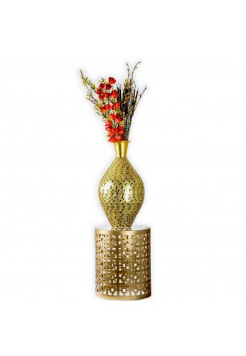 "Seketa Regent Gold Surahi Jug Vase, 30"" Metal Vase w/ Glass Mosaic Decorative Accent / Floor Vase"
