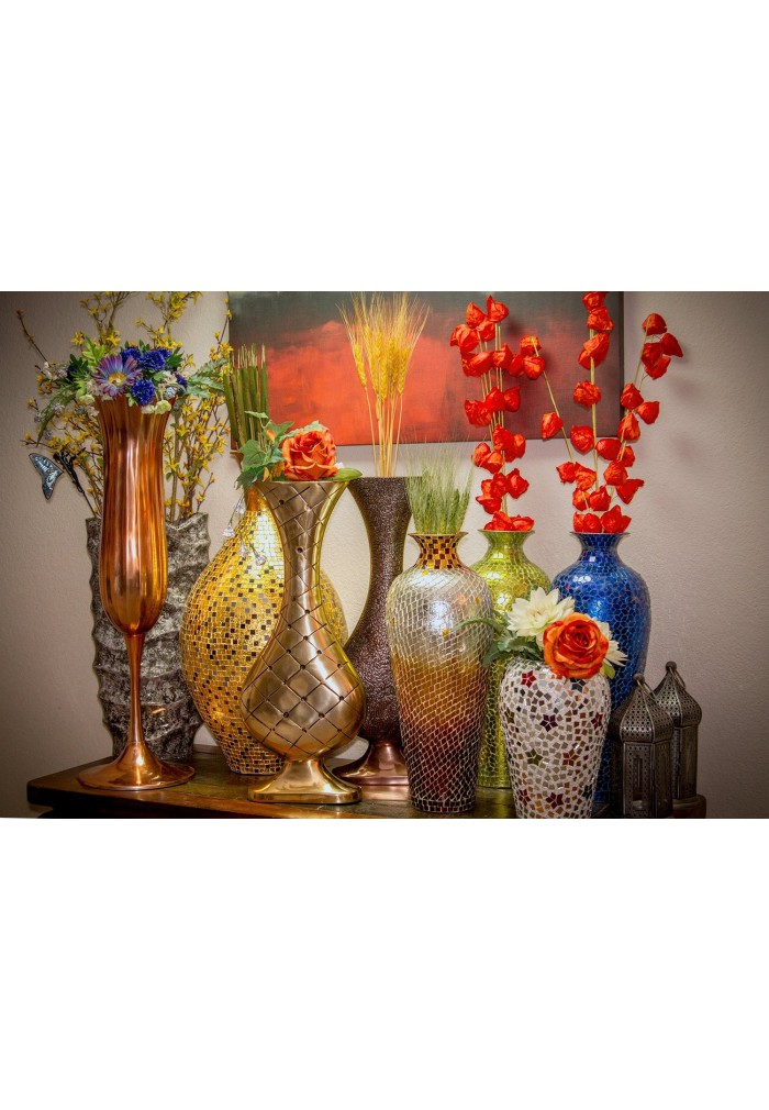buy 30 seketa regent gold surahi jug vase glass mosaic metal floor vase decorshore. Black Bedroom Furniture Sets. Home Design Ideas