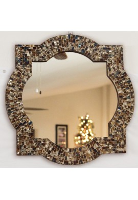 "Andalusian Quatrefoil Mirror, Lindaraja Designer Mosaic Glass Framed Wall Mirror, 24"" x 24"" Colorful Wall Mirror with Glass Mosaic Quatrefoil Frame"
