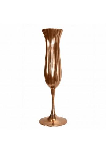 """Alhambra Regent Giant Champagne Glass Pedestal Vase, 29"""" Rose Gold / Copper Finish Pedestal Accent Vase"""