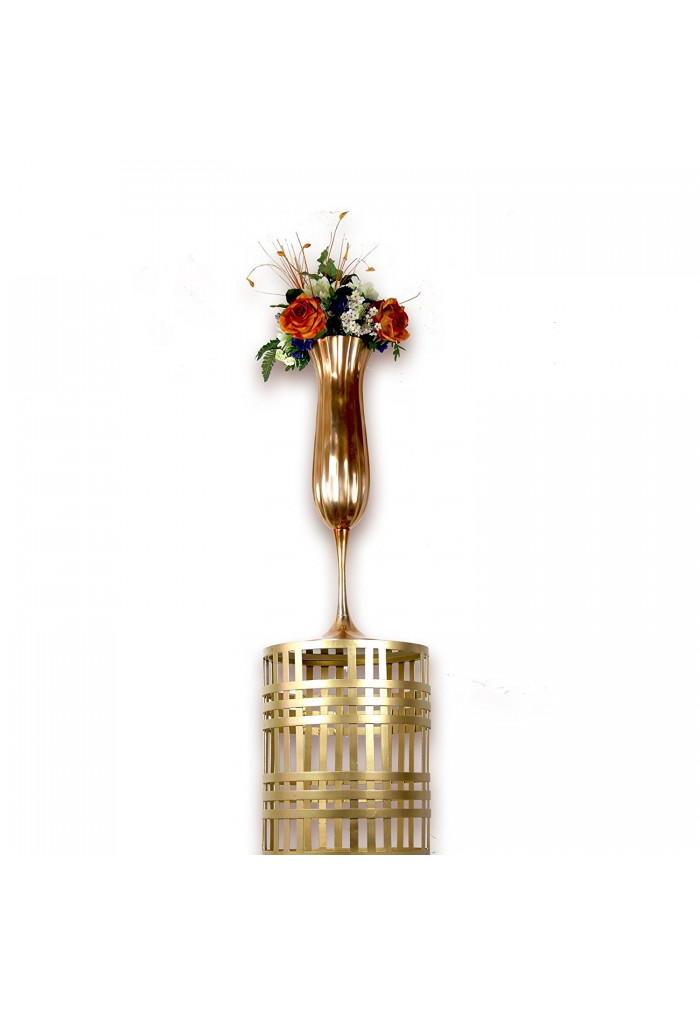 "Andalusia Moorish Chalice Pedestal Vase, 29"" Rose Gold/Copper Finish Pedestal Accent Vase"