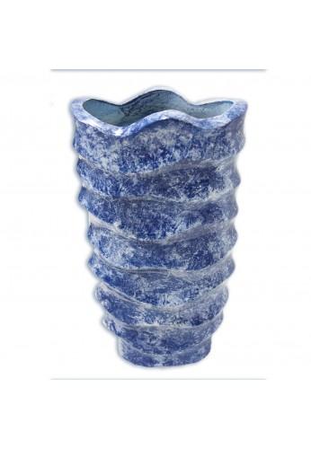 Robins Egg Marble Look Metal Floor Vase Collectable Bespoke Metal Vase, Large Metal Floor Vase, Mid Century Modern Style in Wave Design