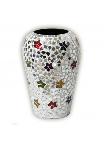 "Boho Chic Vase, 12"" Handmade Rainbow Star Bohemian Rhapsody Metal Vase / Decorative Urn"
