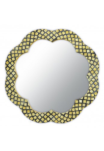 "DecorShore Flor de Amapola - 28"" Andalusian Floral Shape Framed Mirror, Decorative Wall Mirror with Pearlescent Arabesque Pattern Inlay"