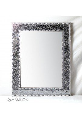 30X24 inch Black and Gray Mosaic Crackled Glass Decorative Wall Mirror, Handmade Crackled Glass Framed Glamorous Rectangular Wall Mirror by DecorShore