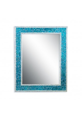 DecorShore 30x24 inch Turquoise Crackled Glass Decorative Rectangular Wall Mirror, Handmade Mosaic Glass Tile Framed Glamorous Vanity/Accent Mirror