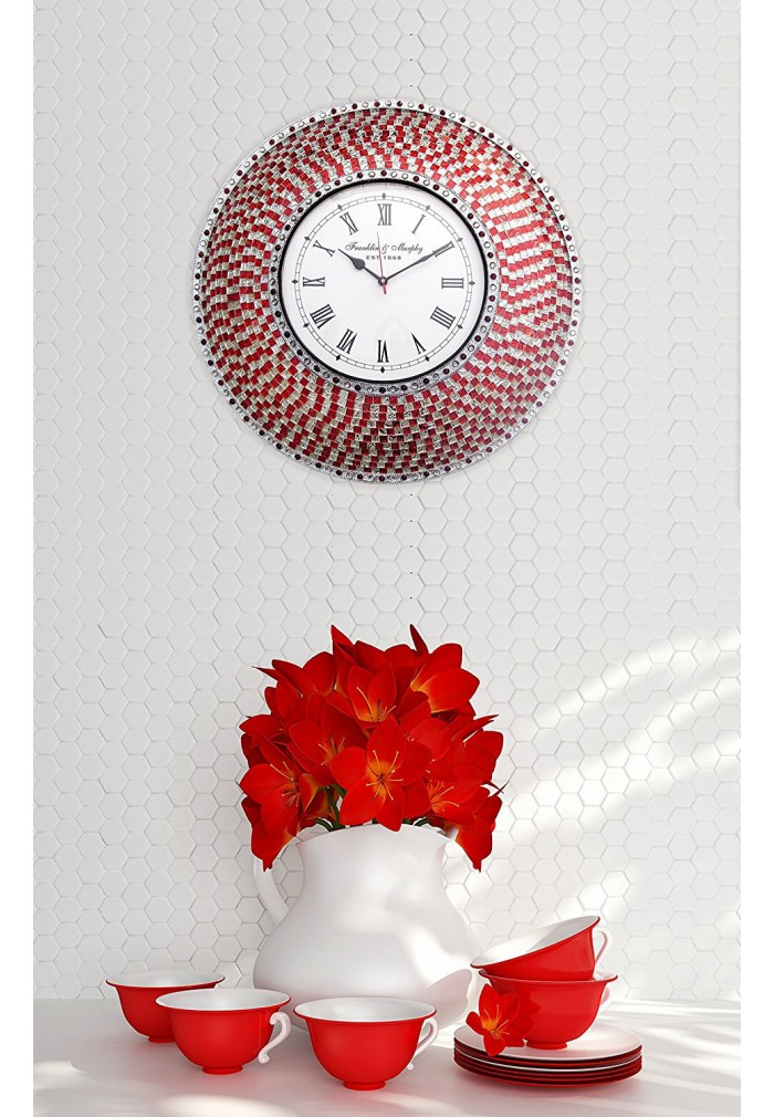 Red Mosaic Wall Decor : Buy quot red and silver handmade glass mosaic wall clock