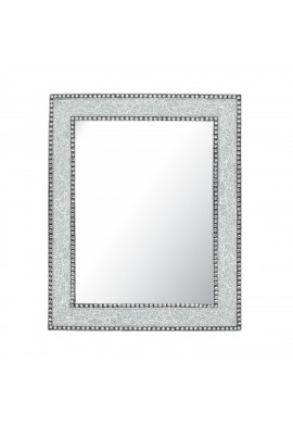 Crackled Glass Decorative Wall Mirror - 30X24 Mosaic Glass Wall Mirror, Vanity Mirror, Glamorous (Silver)