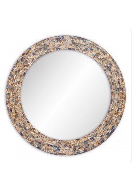 24 Inch Round Gold Hued Multi Colored Decorative Mosaic Glass Wall Mirror, Handmade Mosaic Tile Frame Accent Mirror