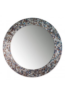 24 Inch Round Silver Decorative Mosaic Glass Wall Mirror, Handmade Mosaic Tile Frame Accent Mirror