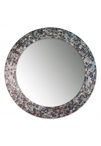 24 Inch Round Silver Decorative Mosaic Glass Wall Mirror, Handmade Mosaic Tile Frame Accent Mirror