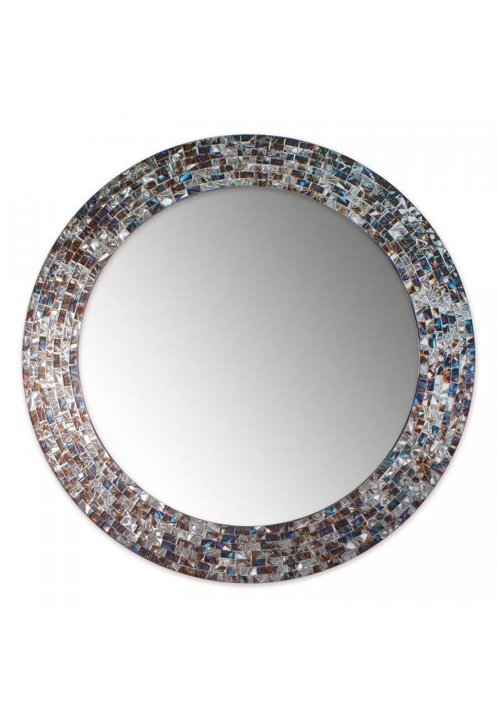 Decorshore 24 Quot Decorative Mosaic Glass Wall Mirror Silver