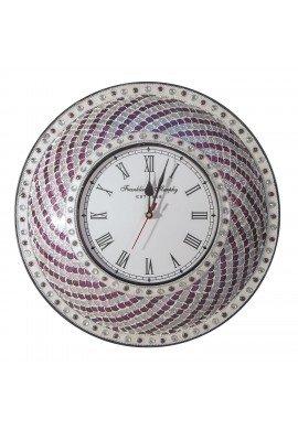 "DecorShore 15"" Silent Motion Purple-Silver Hanging Decorative Wall Clock Jewel Tone Mermaid, Fish Scale Mosaic Glass Tile Pattern Plum Silver"