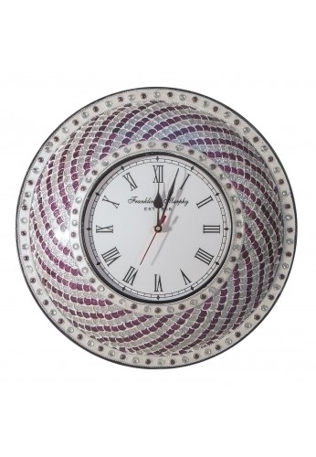 "DecorShore 15"" Silent Motion Purple-Silver Hanging Decorative Wall Clock Jewel Tone Mermaid, Fish Scale Mosaic Glass Tile Pattern Plum Silver"
