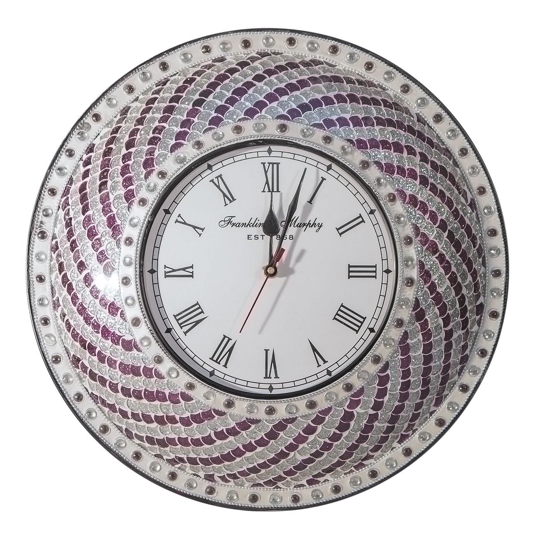 "DecorShore Purple & Silver Hanging Wall Clock 15"" Silent Motion"