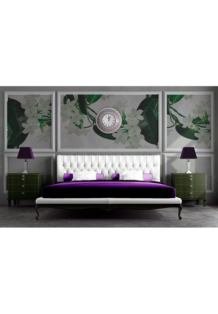DecorShore Purple & Silver Hanging Wall Clock