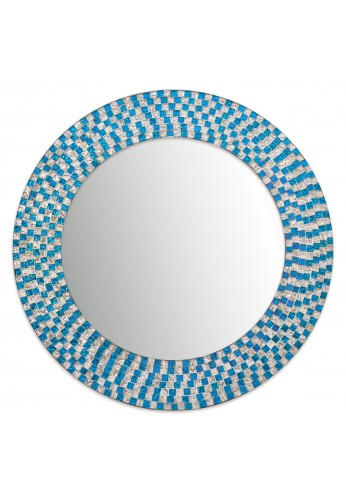 "DecorShore 20"" Jewel Tone Accent Mirror, Round Decorative Wall Mirror w/ Embossed Glass Mosaic Tile Frame (Aquamarine & Silver Topaz)"