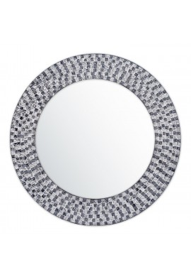 "DecorShore 20"" Jewel Tone Accent Mirror, Round Decorative Wall Mirror Embossed Glass Mosaic Tile Frame (Onyx Black & Silver Topaz)"