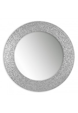 "DecorShore 20"" Jewel Tone Accent Mirror, Round Decorative Wall Mirror Embossed Glass Mosaic Tile Frame (Silver Topaz)"