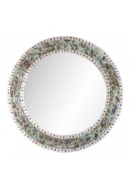 "DecorShore 24"" x 24"" Round Wall Mirror with Multi Color Crackled Glass Decorative Mosaic Frame, Decorative Accent Mirror, in Fired Jade"