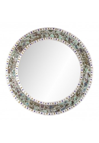 """DecorShore 24"""" x 24"""" Round Wall Mirror with Multi Color Crackled Glass Decorative Mosaic Frame, Decorative Accent Mirror, in Fired Jade"""