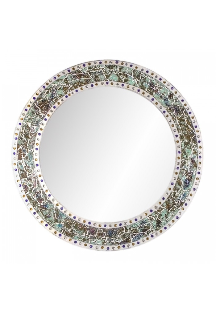 DecorShore 24 x 24 Round Wall Mirror with Multi Color Crackled Glass Decorative Mosaic Frame