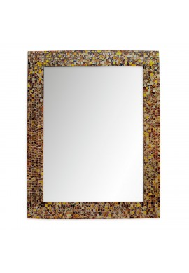 "DecorShore 30"" x 24"" Glass Mosaic Framed Decorative Wall Mirror, Handmade Eclectic Accent Mirror, Unique Vanity Mirror (Caramel Macchiato)"