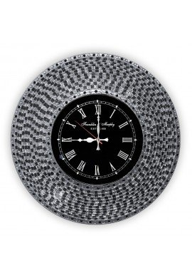 "DecorShore Decorative Mosaic Wall Clock, 22.5"" Silent Motion Wall Clock in Decorative Embossed Metallic Glass Mosaic - Black & Silver"