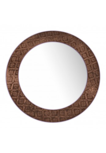 DecorShore Frontiers Collection Decor Accents - Copper Queen Pressed Round Metal Framed Decorative Wall Mirror