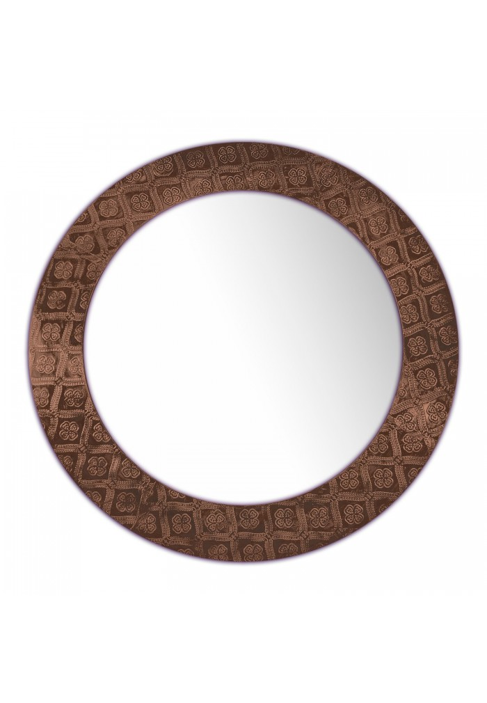 DecorShore Frontiers Collection Décor Accents - Round Metal Framed Vanity Mirror in Copper