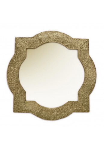 DecorShore Frontiers Collection Decor Accents - Santa Catalina, Brass Quatrefoil - Metal Vintage Decorative Wall Mirror
