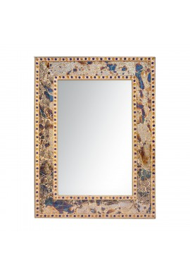 "DecorShore 24""x18"" Crackled Glass Framed Rectangular Decorative Vanity Accent Mosaic Wall Mirror, Gemstone Look (Fired Gold)"