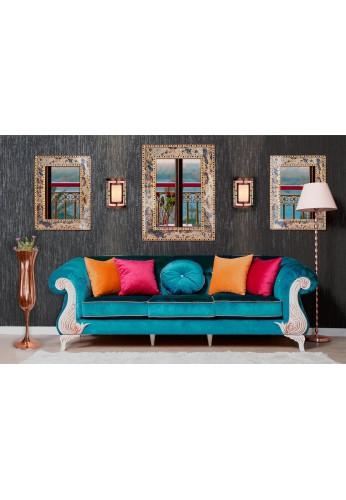 "DecorShore 24"" x 18"" Crackled Glass Jewel Tone Mosaic Wall Mirror, Framed Rectangular Decorative Vanity Mirror"