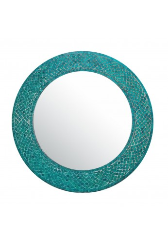 "DecorShore 20"" Lindaraja Mosaic Round-Color Trend Shimmering Mermaid Mosaic Glass Tile Framed Wall Mirror in Turquoise"