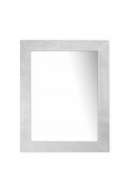 DecorShore Frontiers Collection Decor Accents - Socorro Pressed Metal Framed Rectangular Wall Mirror in Antique Silver