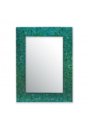 "DecorShore 24""x18"" Accent-Rectangular Decorative Mosaic Wall Mirror with Glass Tile Frame in Turquoise"