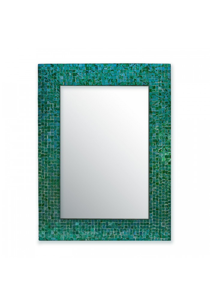 "DecorShore 24""x18"" Mosaic Wall Mirror, Rectangular Decorative Mirror with Mosaic Glass Tile Frame in Turquoise Color"