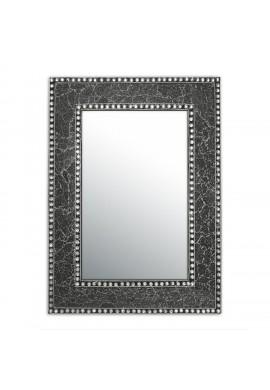 "24"" x 18"" Black Onyx Mosaic Crackled Glass Jewel Tone Framed Rectangular Wall Mirror, Handmade Decorative Accent Vanity Mirror by DecorShore"