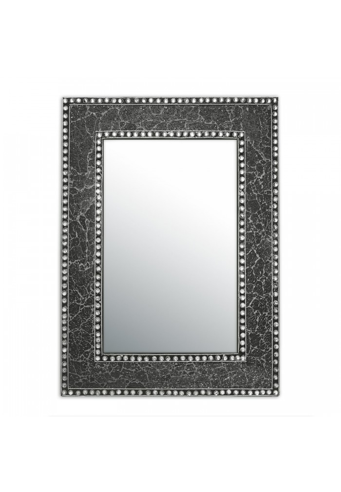 "DecorShore 24"" x 18"" Crackled Glass Mosaic Wall Mirror, Framed Rectangular, Accent Mirror, Gemstone Look"