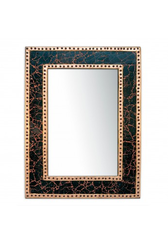 "DecorShore 24"" x 18"" Crackled Glass Jewel Tone-Framed Rectangular Decorative Mosaic Wall Mirror, Vanity-Accent Mirror in Sunstone Color"