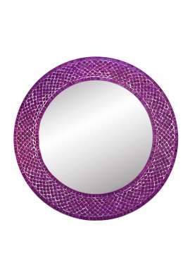 "DecorShore 20"" Lindaraja Designer- Color Trend Shimmering Mermaid Mosaic Glass Tile Framed Mosaic Round Wall Mirror in Plum Purple"