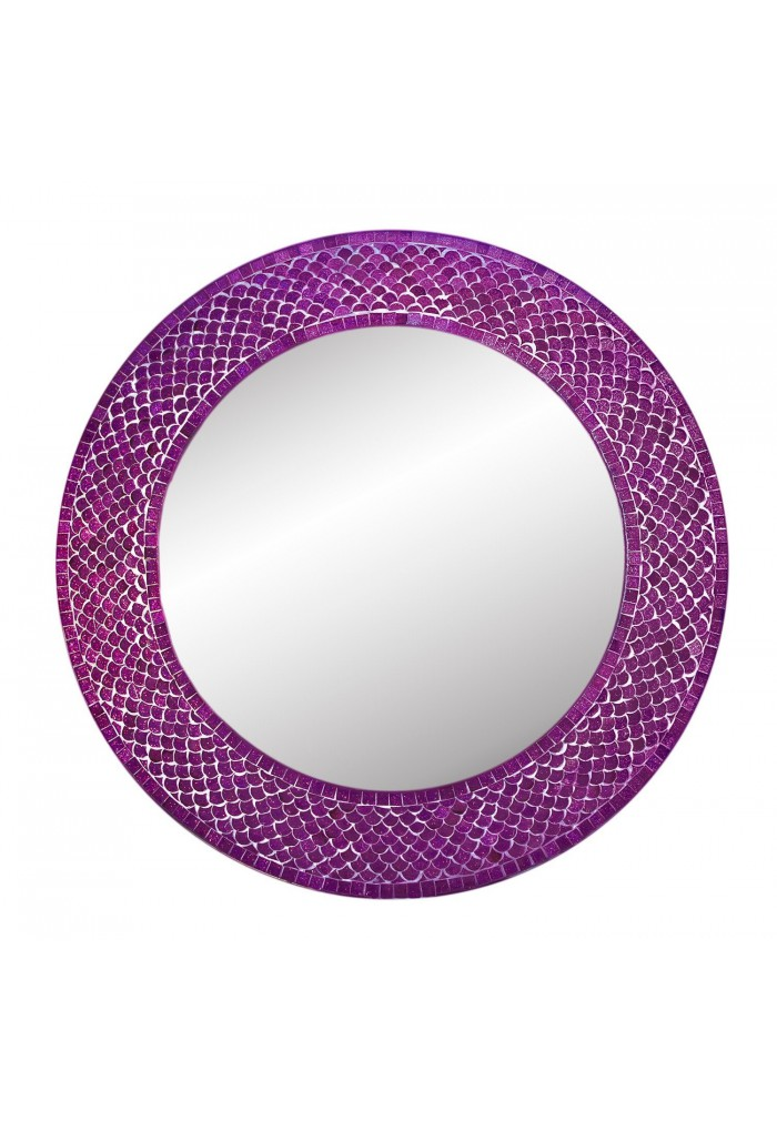 "DecorShore 20"" Mosaic Round Wall Mirror, Color Trend Shimmering Mermaid Glass Tile Framed in Sparkling Plum Purple"