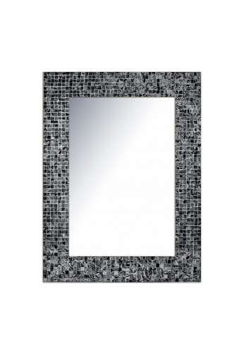 "24""x18"" Black Onyx Hues Rectangular Mosaic Wall Mirror, Decorative Handmade Accent Wall Mirror with Glass Tile Frame by DecorShore"