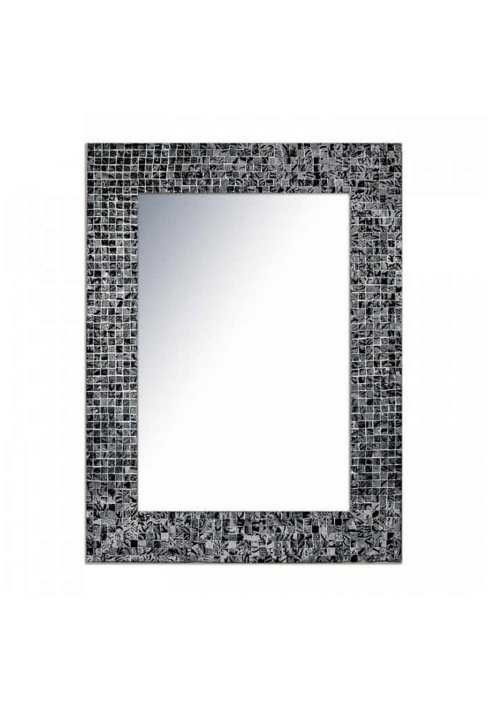 "DecorShore 24""x18"" Mosaic Wall Mirror, Jewel Tone Accent Mirror, Rectangular Decorative Tile Frame in Black Onyx Hues"