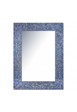 "DecorShore 24""x18"" Accent-Rectangular Decorative Mosaic Wall Mirror with Glass Tile Frame in Sapphire & Silver Hues"