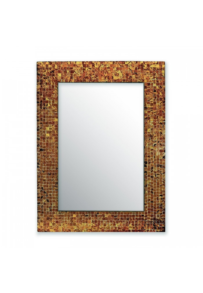 "DecorShore 24""x18"" Mosaic Wall Mirror, Jewel Tone Accent Mirror, Rectangular Decorative with Tile Frame in Sunstone Brown Hues"