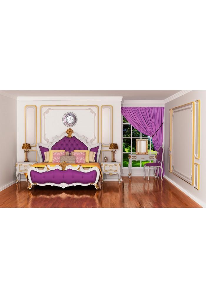 DecorShore Purple & Silver Hanging Wall Clock
